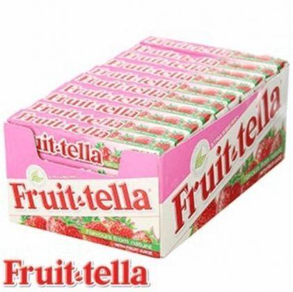 Fruit-tella snoep aardbei 40 rollen á 41 gram
